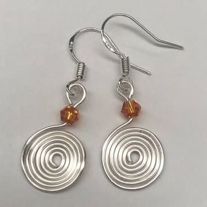 Jewelry - Silver Swirl Earrings with Orange Bead Accent